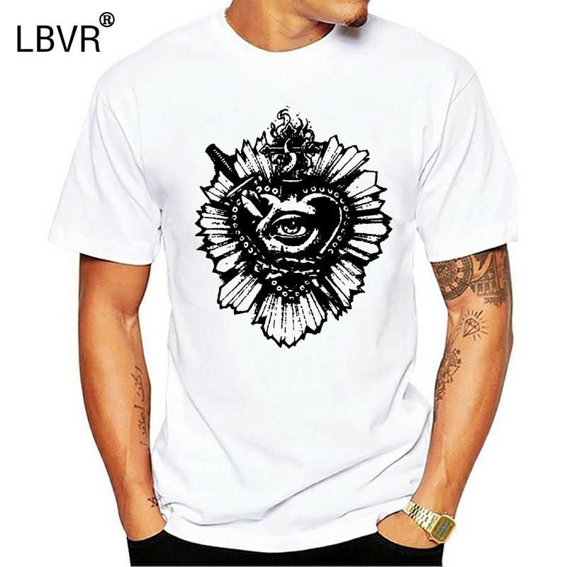Coração Maglietta Uomo tatuaggio Cuore Ex Voto Fé Tatuagem sagrado do T-shirt do homem