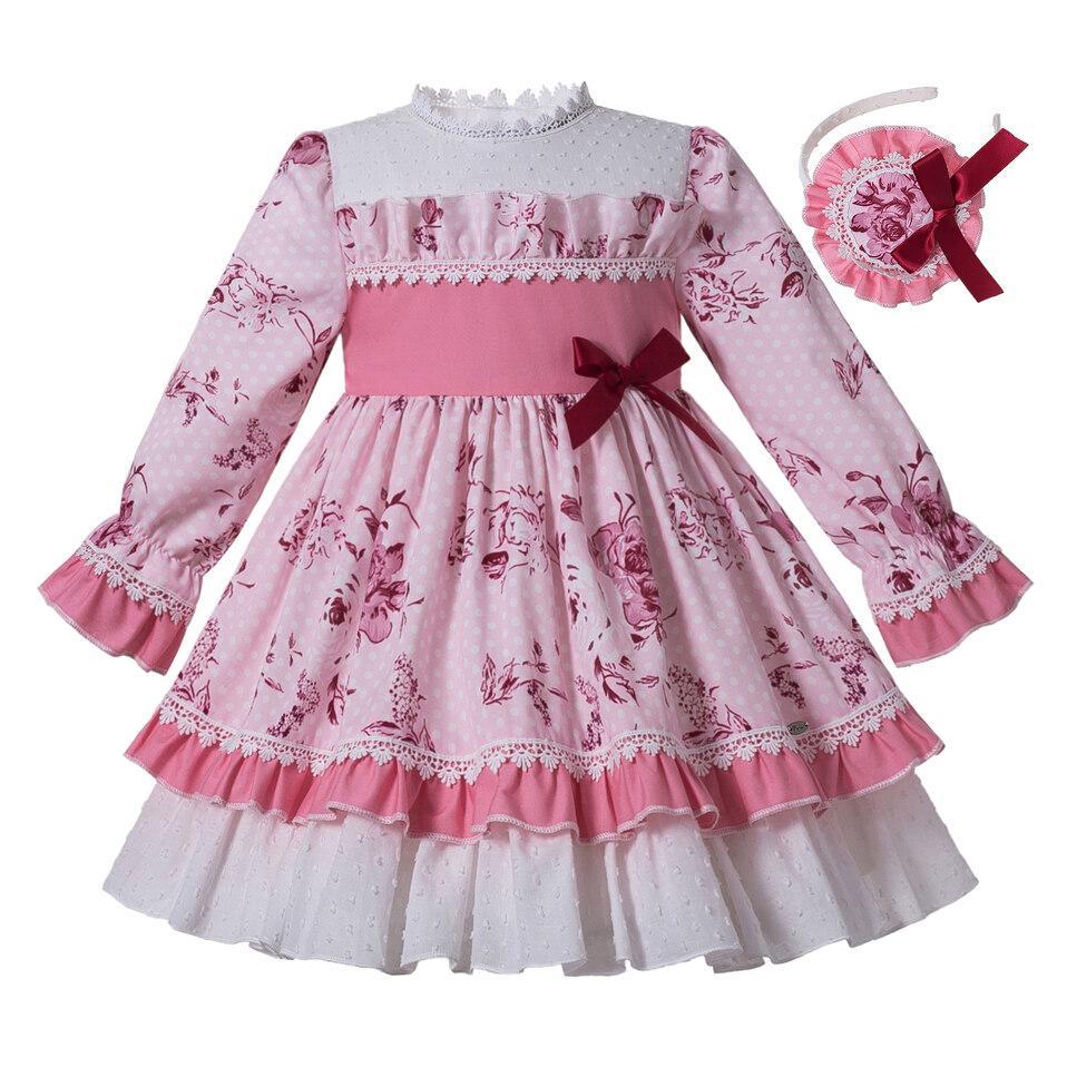 Pettigirl Pink Flower Girl Dress Stampato girocollo principessa Dress ragazza con nastro BowHeaddress Boutique Bambini Abbigliamento G-DMGD307-436