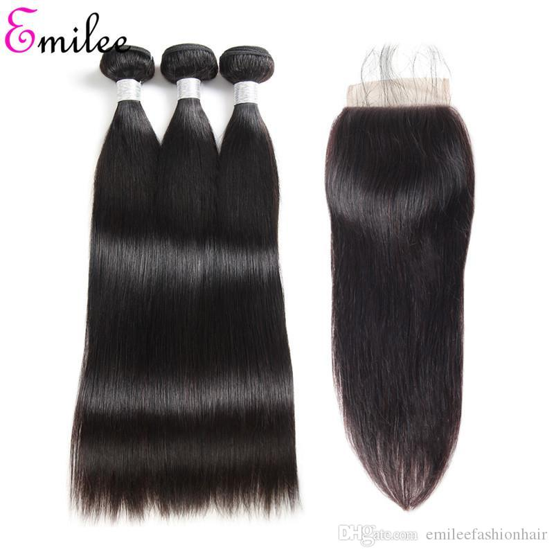 Emilee Straight 4*4 Lace Closure Hair Bundles Brazilian Hair Weave Natural Black Human Hair for Black Women