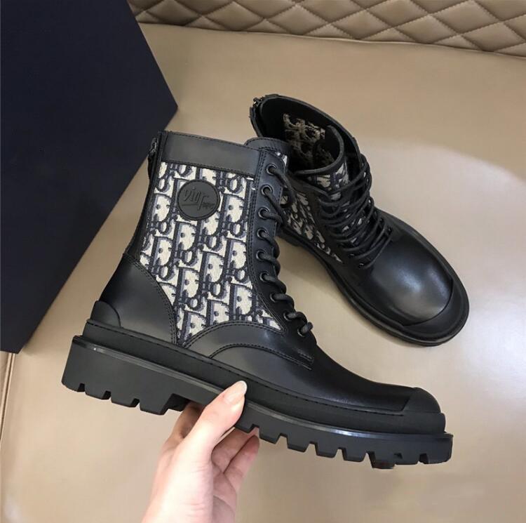 Orijinal Stil Dl0RBRANDS 2020 Yeni Kadın Gerçek Deri Siyah Jakarlı Dikiş Martin Çizme Kısa Rider Boots Yüksek Üst Ayakkabı
