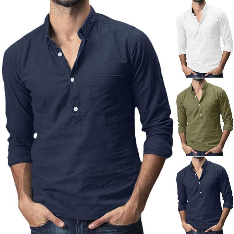 Manga para hombre de primavera y verano tops hombre collar del soporte de las camisetas para hombre del diseñador de las camisas del color sólido con botones largas de la moda