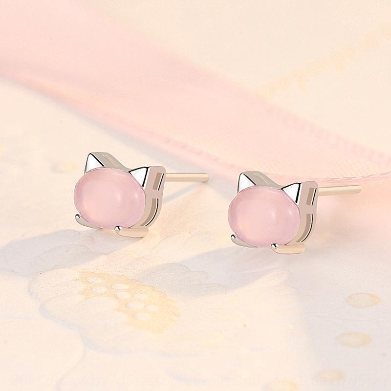NszxZ S925 ve saf gümüş pembe kedi kadın yeni moda yenilikçi küpe sevimli basit küçük küpe