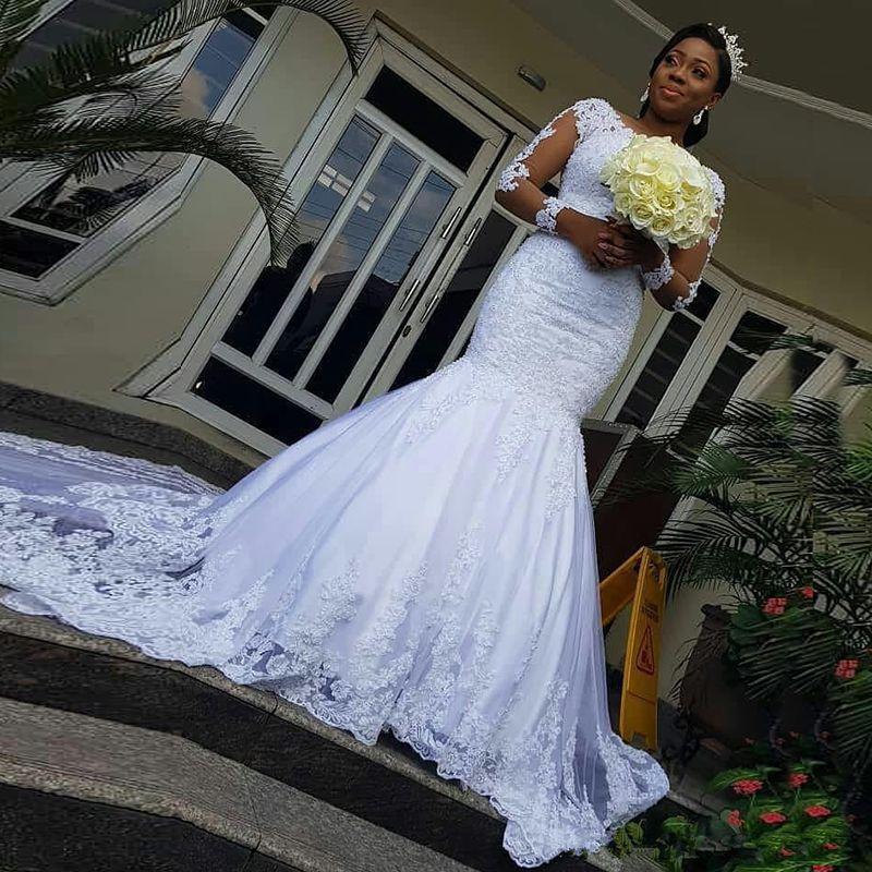 Modern 2020 New Arrival Illusion Long Sleeves Mermaid African Wedding Dresses Lace Applique Wedding Gowns vestidos de novia Bridal Dresses