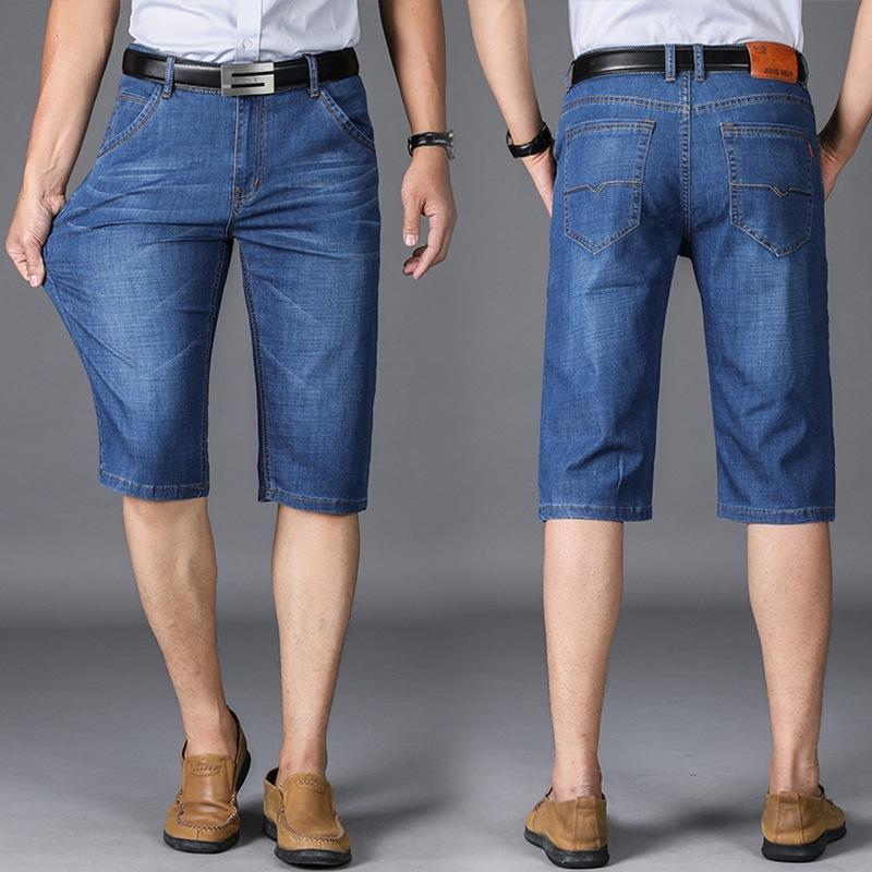 xSx86 Capri Männer und Jeans gerade Sommer lose Jeanshosen der hohen Taille der Hosen der Männer dad Modegeschäft atmungs zKFed