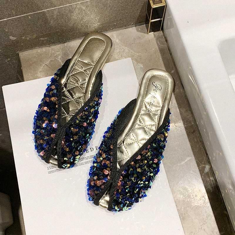 2020 Verão Mulheres mulas prata brilhante Casual Sapatos de couro Mulher Chinelos Fora Vestido Plano Slides Praia Sandals Feminino CLDS #