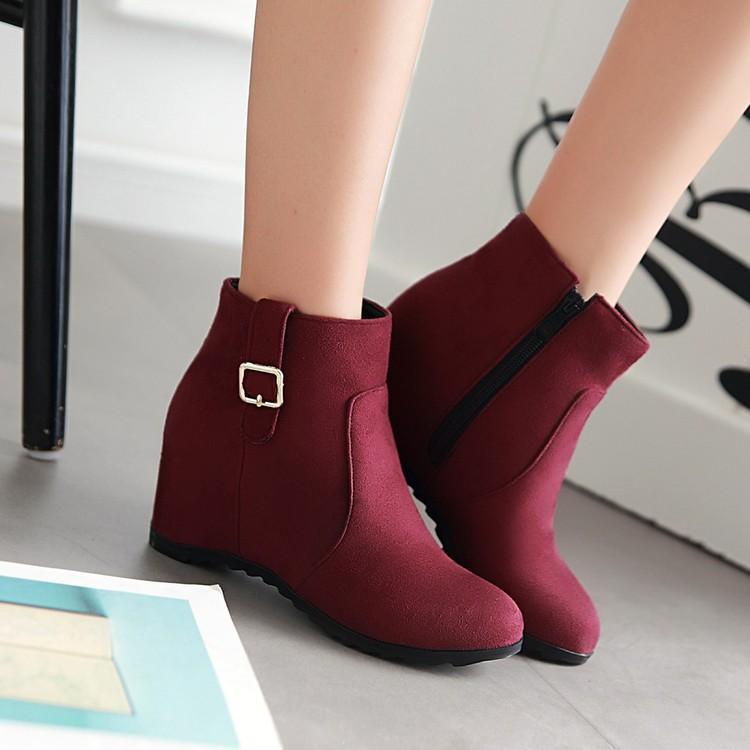 Outono e Inverno tubo curto Aumento do Semi de salto alto Mulheres Botas das senhoras tamanho grande Shoes