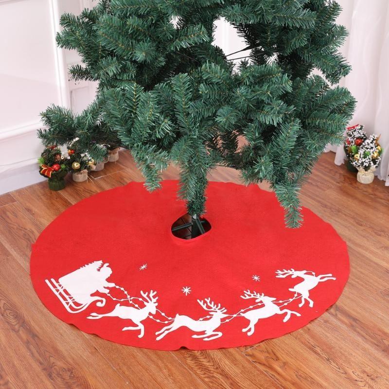 100CM Красный Нетканые ткани Elk шаблон Рождественская елка юбка елочные украшения Home Decor