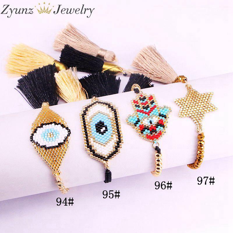 5PCS, Miyuki mano di Hamsa / Star / braccialetto degli occhi connettore, elegante braccialetto alla moda per le donne, per le ragazze, braccialetto di monili di fascino