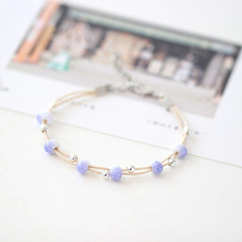 Бисером, пряди простые двойной слой браслет для женщин ручной работы керамическая маленькая свежая оригинальная мода элегантные украшения