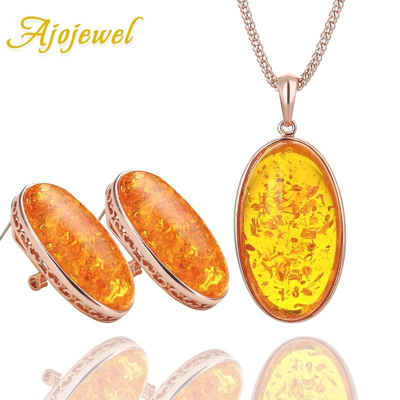 Ajojewel Big Orange Taş Kadınlar kolye kolye Küpe Seti Moda Takı Seti Reçine Bijoux İçin Takı ayarlar