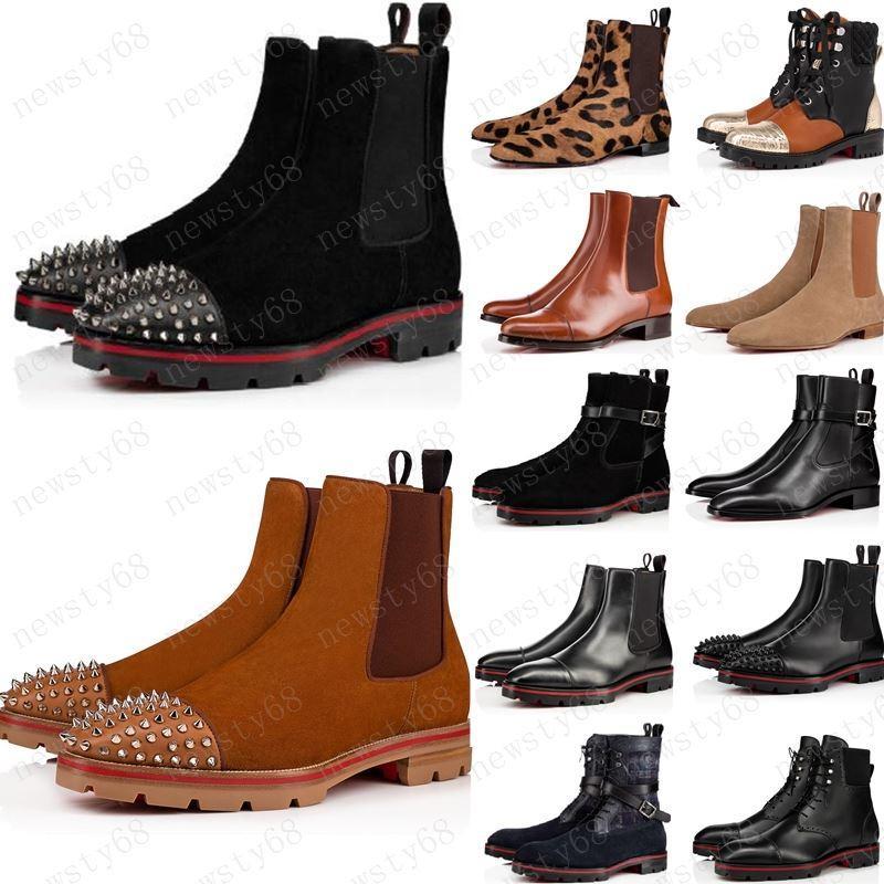 أزياء نمط جديد قيعان أحمر حذاء رياضة الرجال التمهيد المسامير من جلد الغزال جلد أحمر أحذية الرجال الوحيدة السوبر مثالية البطيخ للدراجات النارية التمهيد الكاحل للرجال