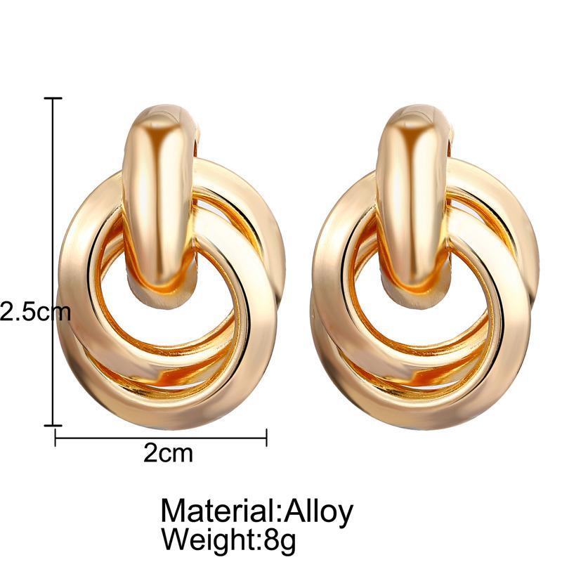 2019 Новый дизайн круглый металлический обруч серьги падения Золотой Элегантный круг мотаться серьги Заявление для женщин Мода ювелирные подарки