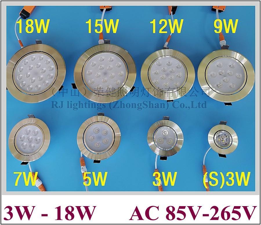 rebajada del punto del techo de la lámpara LED abajo de luz 3W 5W 7W 9W 12W 15W 18W de alta potencia SMD 2835 hoja de aluminio radiador CE 2020 NUEVO