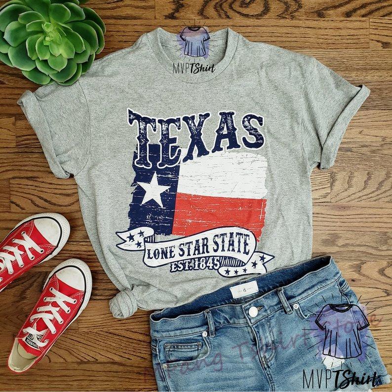 Tejas solitaria del estado Est 1845 de la camiseta de recuerdo de Texas-t-orgullo de Tejas T-Hombres del Estado de Texas Apodo camisa de julio del hoyo 4