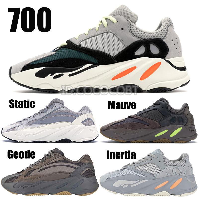 2019 Statik 700 Dalga Runner Leylak EE9614 Atalet Kanye West 700 v2 Jeod Erkekler Kadınlar Koşu Ayakkabı Tasarımcısı Spor Seankers ile Kutusu
