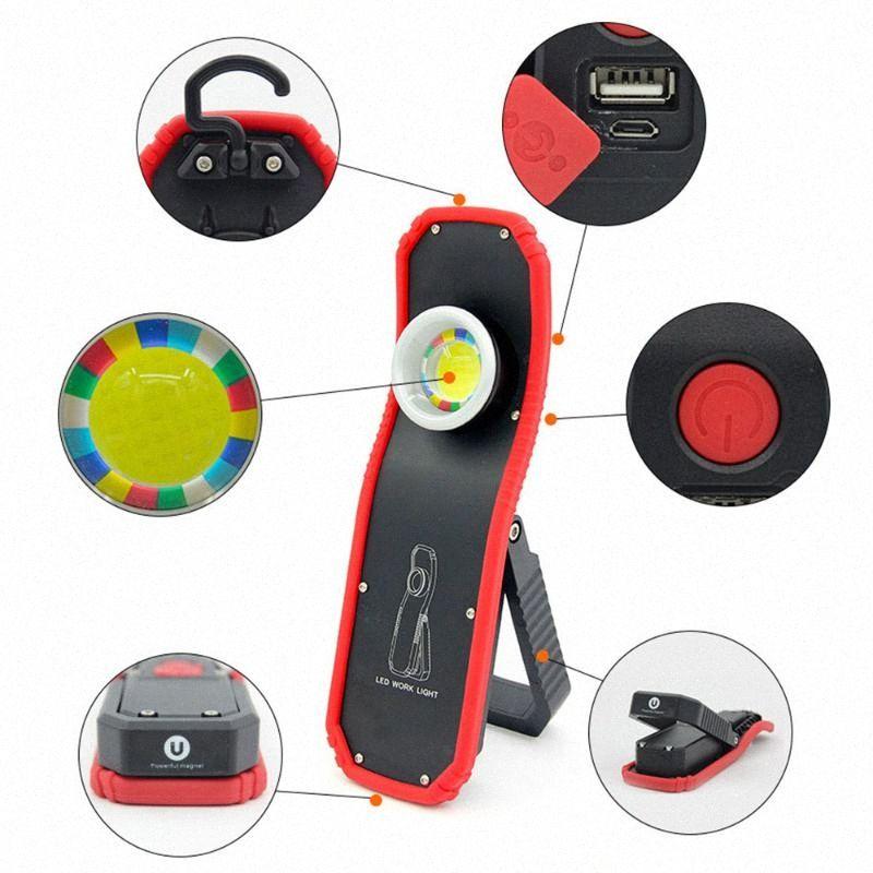 Recargable LED del trabajo de 60W Búsqueda portátil USB COB magnética linterna antorcha camping al aire libre gancho lámpara de luz de las linternas para acampar RpnJ #