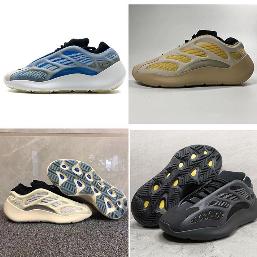 Versão PK Azael 700 V3 Sapatos Brilhas Azareth Blue SRPHYM Amarelo Alvah Black Kanye West Men Womens Correndo Caixa de Tênis