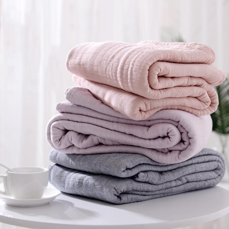 100% хлопок муслин Одеяло Кровать диван Путешествие дышащей Простой японский стиль Solid Soft Бросьте Пледы Double простыню