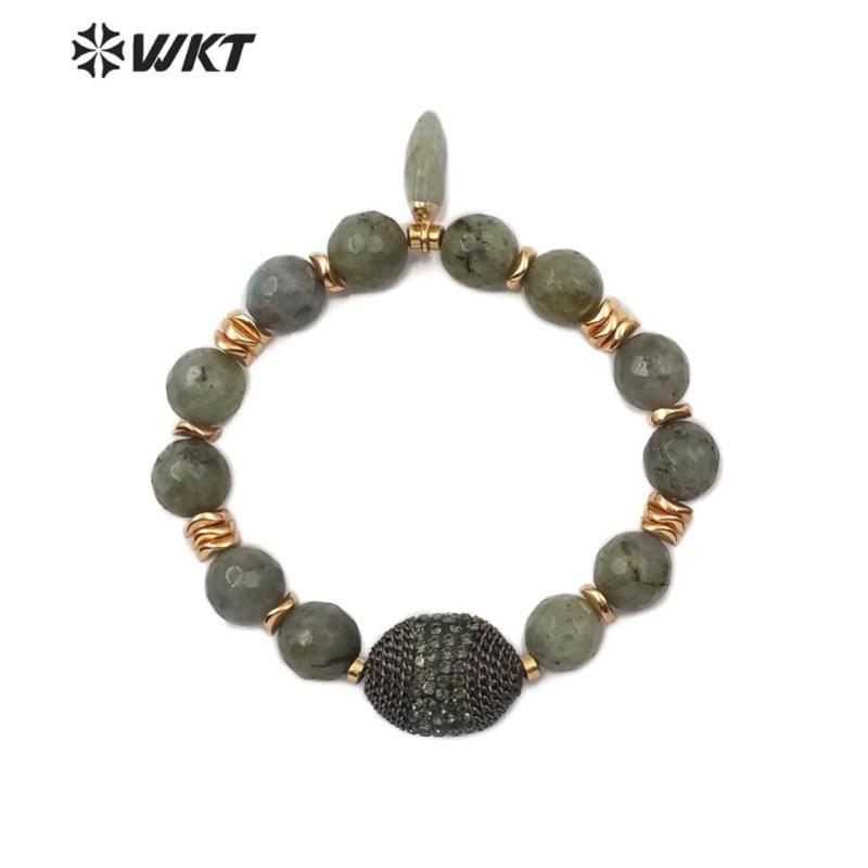 WT-B468 WKT Labradorite Stone Bracelet Elastic Beaded Bracelet Beads With Gold Beads Charm Women Vintage Bracelets Jewelry