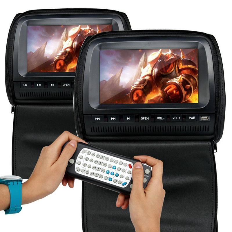 2PCS 9 pouces voiture DVD vidéo Moniteur appuie-tête Lecteur 800 * 480 Zipper Couverture TFT écran LCD avec IR / FM / USB / SD / Président / Jeu