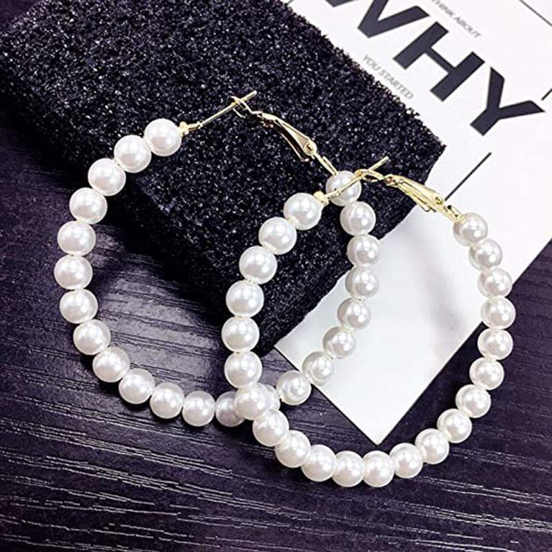 Vintage Pearl orecchini a cerchio per le donne Il nuovo modo semplice grande orecchino d'avanguardia regalo Pendientes Brincos Bijoux femminile ipoallergenico