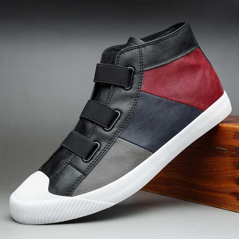 Осень New Men Mix цвета Ботильоны High-Up досуга кожаные ботинки корейской моды Шитье пыльник Дизайнер Luxury Flat M3561