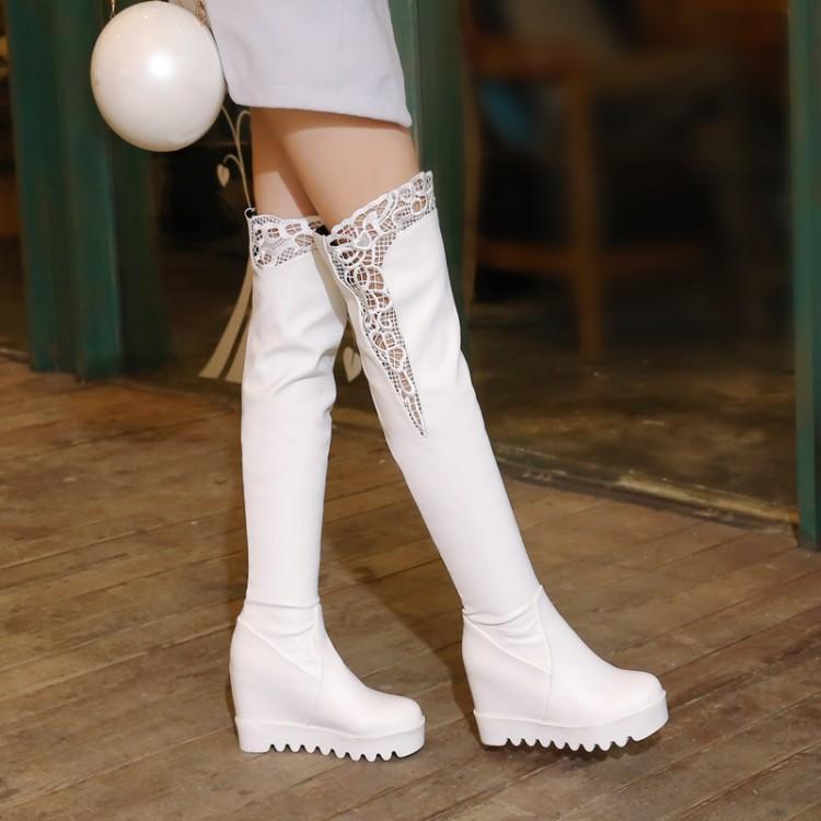uyluk yüksek çizmeler siyah emboridery tomurcuk dantel ayakkabılar 001 seksi diz üstünde büyüklük 33-42 43 beyaz gelinlik ayakkabıları görünmez yükseklik STRECHY