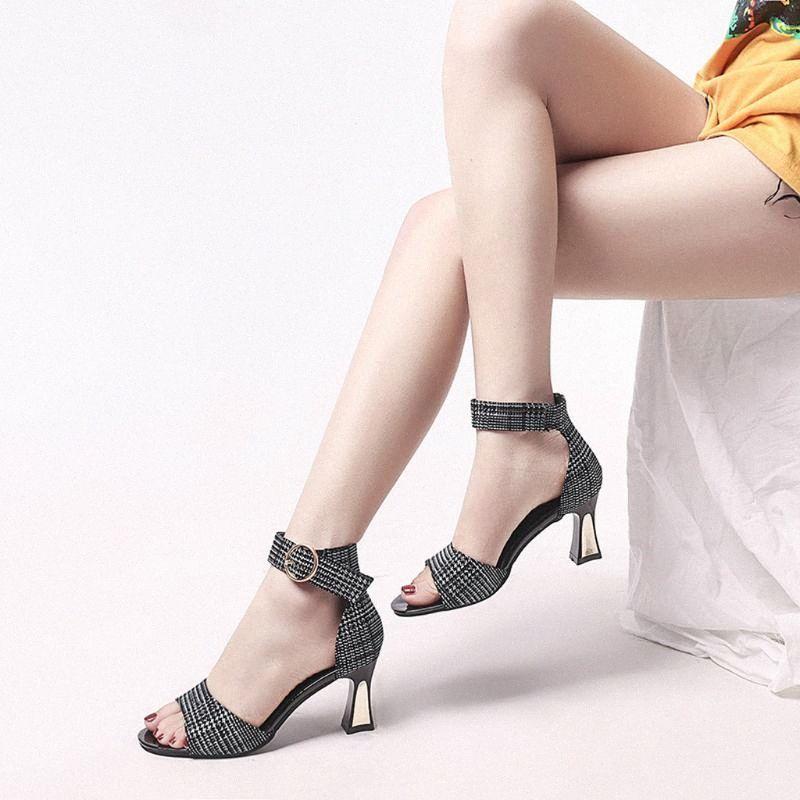 2020 talones de la correa del tobillo de las mujeres sandalias del verano mujeres de los zapatos con punta abierta gruesos tacones altos sandalias del partido del vestido del tamaño grande de 40 g4 # # jxOJ