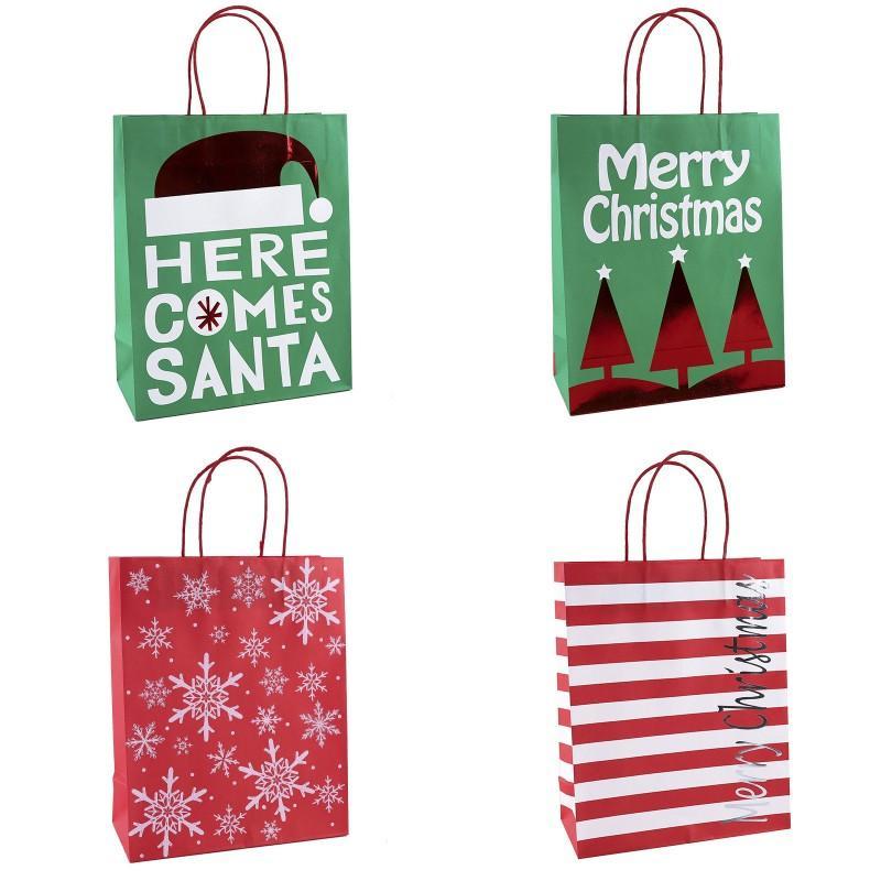 Regalo di Natale Borse Qui Comes Santa Kraft Paper Bag con manico di Buon Natale regalo sacchetto di immagazzinaggio DHE1075