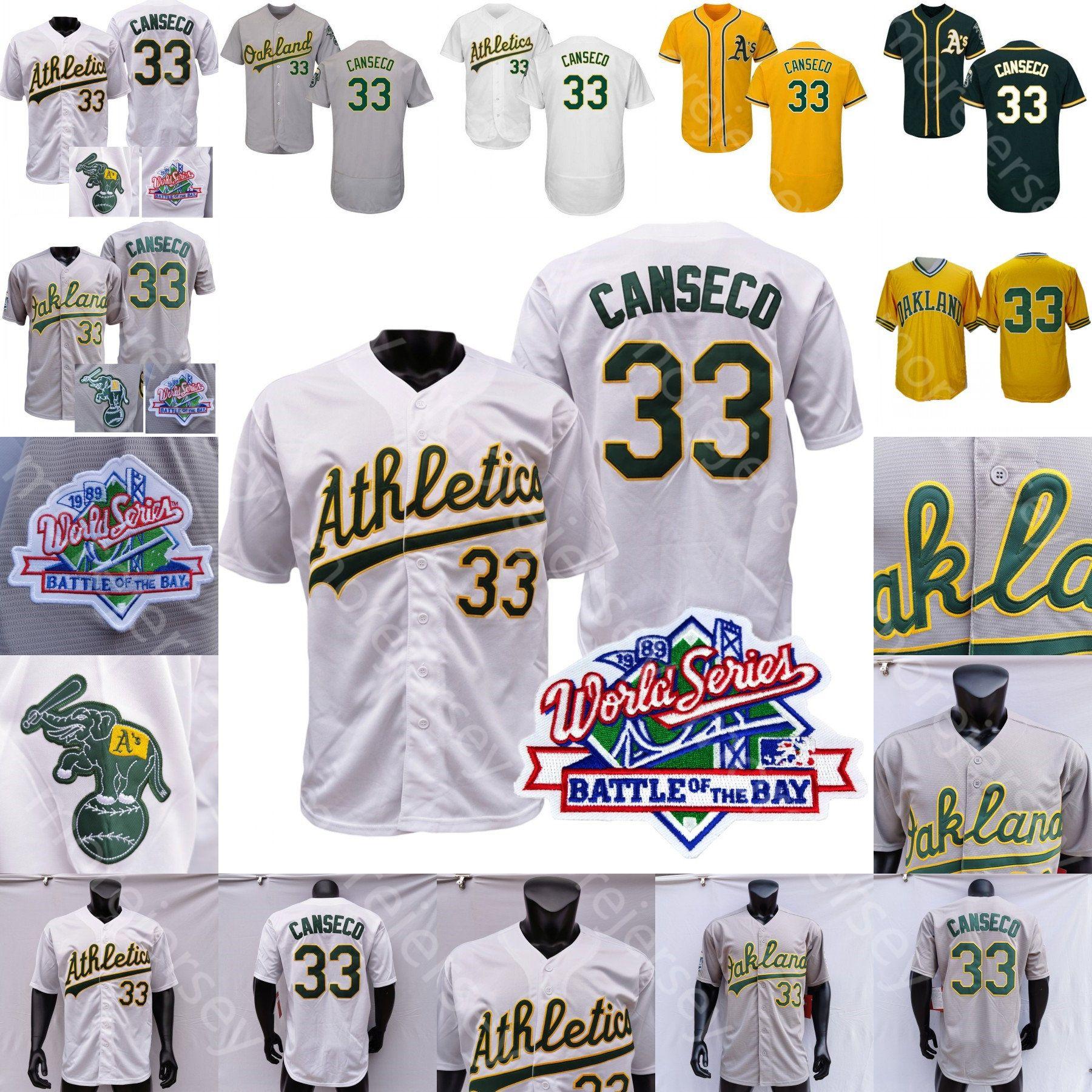 Хосе Кансеко Джерси 1989 WS Бейсбол Oakland Трикотажные Home Away Белый Серый Желтый пуловер Все Sttiched и вышивке Мужчины Размер M-3XL