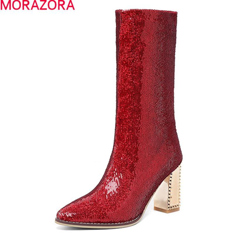 MORAZORA Yeni varış moda orta buzağı botlar kış katı kadın botları kalın yüksek topuklu sivri burun bayan ayakkabı altın kırmızı