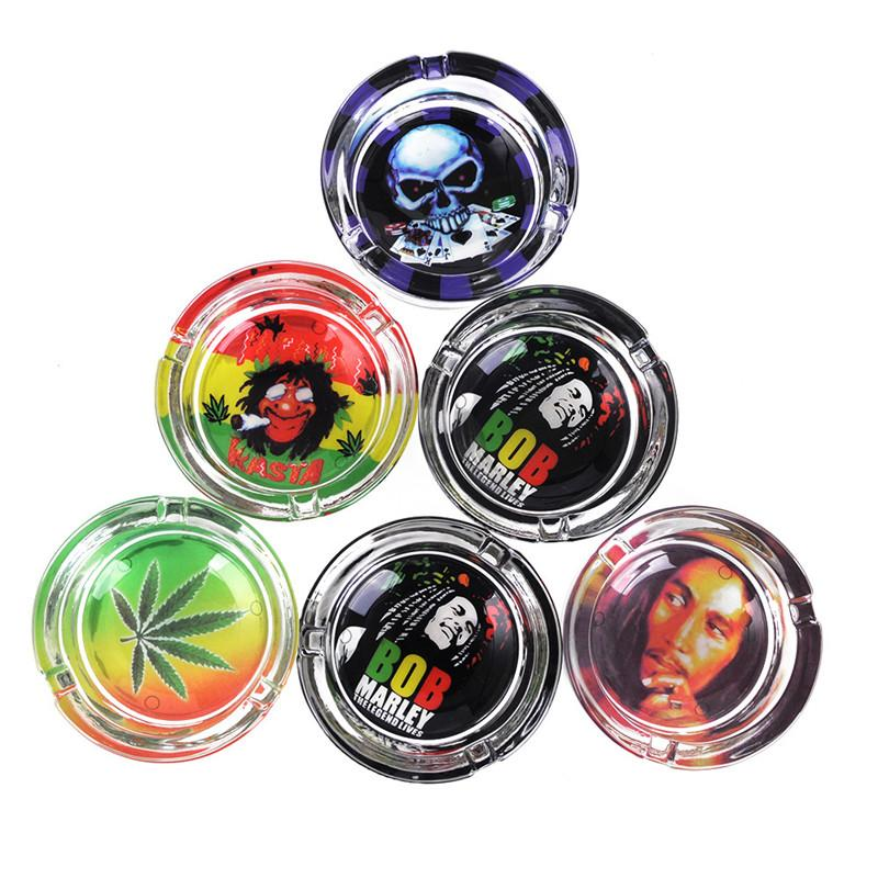 Wholesale Glass ashtray for Cigarettes Outdoor Easy Clean House Decorations Crystal Ash tray multi design for Home/Office smoking accessorie