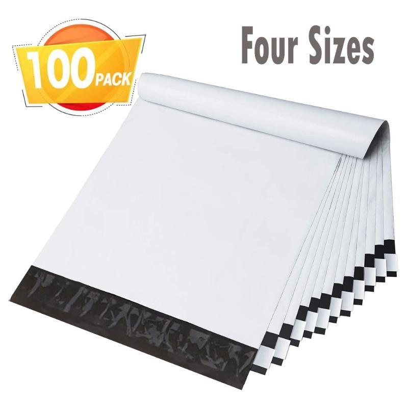 100PCS Umschläge Versandtaschen mit Self Adhesive Mailbag Wasserdicht reißfeste Kunststoff-Kurier-Umschlag Post Taschen (weiß)