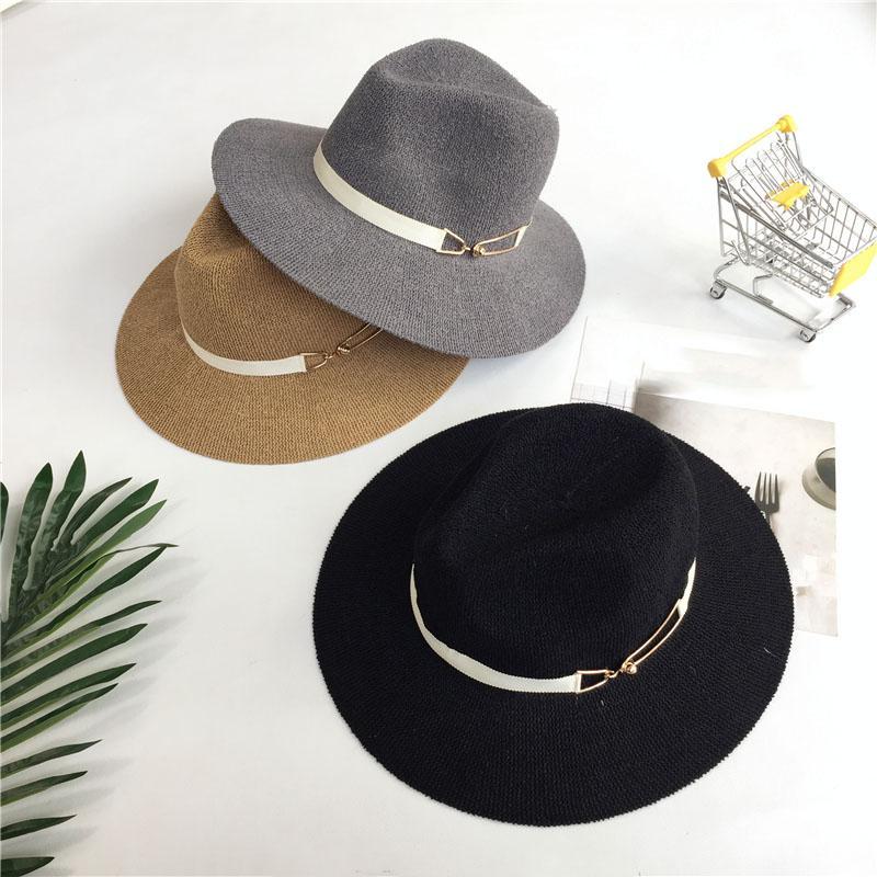 Широкие шляпы Brim Chats Корея большая соломенная женщина весна лето на открытом воздухе путешествие солнца шляпа мода англия пляжные шапки козырьки 7 цветов взрослых
