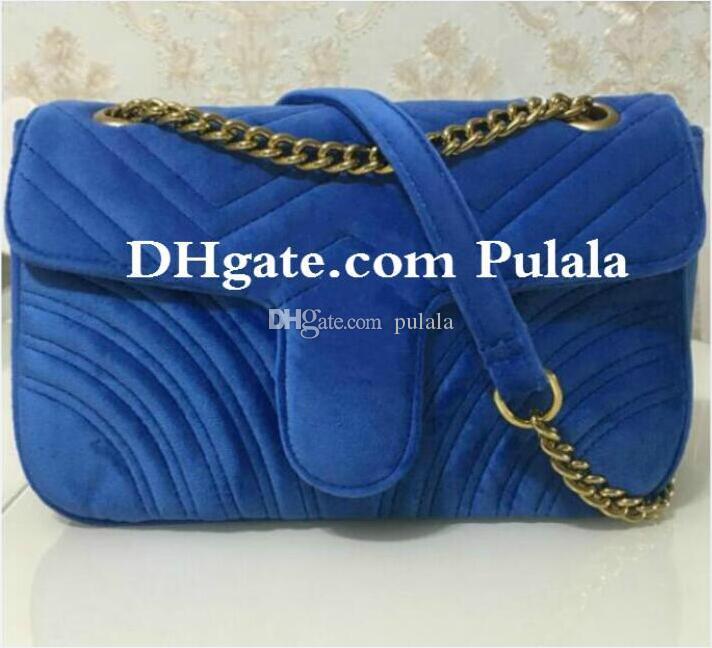 Tasarımcı Moda kadınlar Omuz çantası Kadife deri altın zincir çanta Crossbody Messenger çanta Bayan çanta cüzdan Marka Bayan cüzdanlar 6 renkler