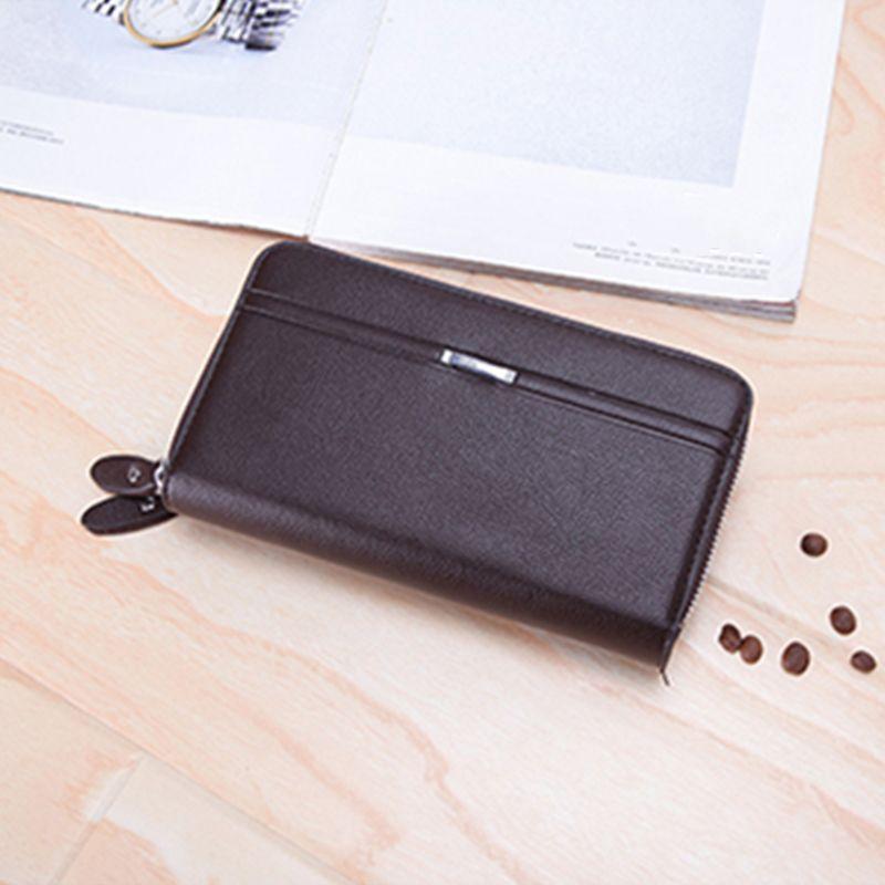 Para hombres hombres vintage billetera bolsillo bolsillo con cremallera largo monedero billeteras cremallera negocio embrague con moneda doble masculino gran cartera monedero cwbvi