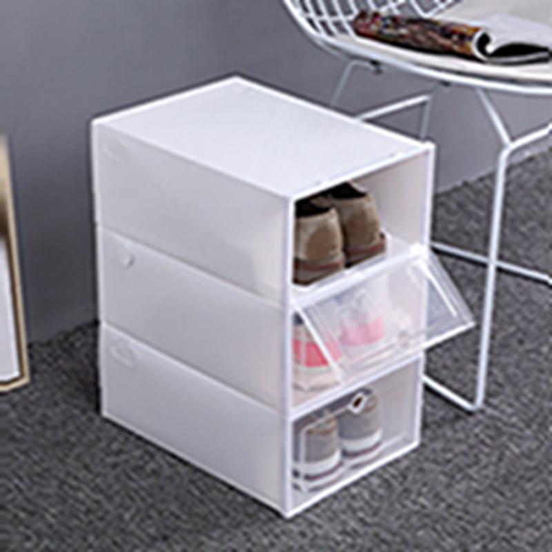 이 두꺼워 투명한 플라스틱 신발 상자 방진 신발 스토리지 박스 플립 투명 신발 박스 캔디 컬러 스택은 주최자 상자 EEA2004-1 신발