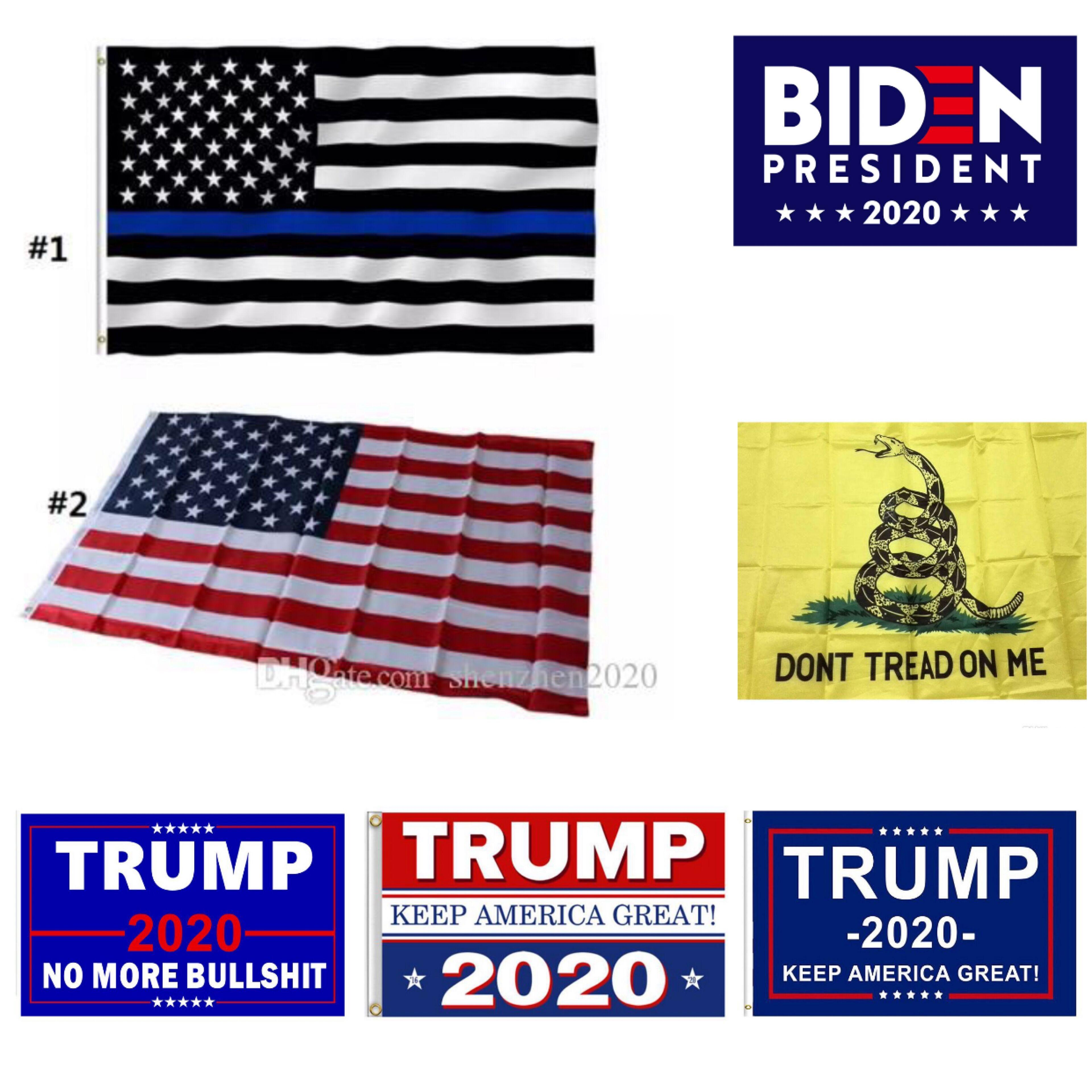 Bandeira Donald Trump Linha bandeira presidencial Usa 3x5 Pé americano Us 90 * 150cm azuis Polícia Bandeiras da campanha Biden Bandeira bde_luck WizOA