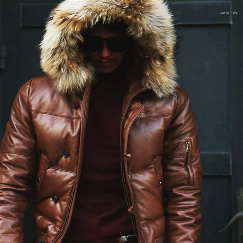 Designer-Jacken Mode Rippe Sleeve Kunstleder Warm mit Kapuze Jacken Winter Herren Jacken Plus Size Herren verdickte