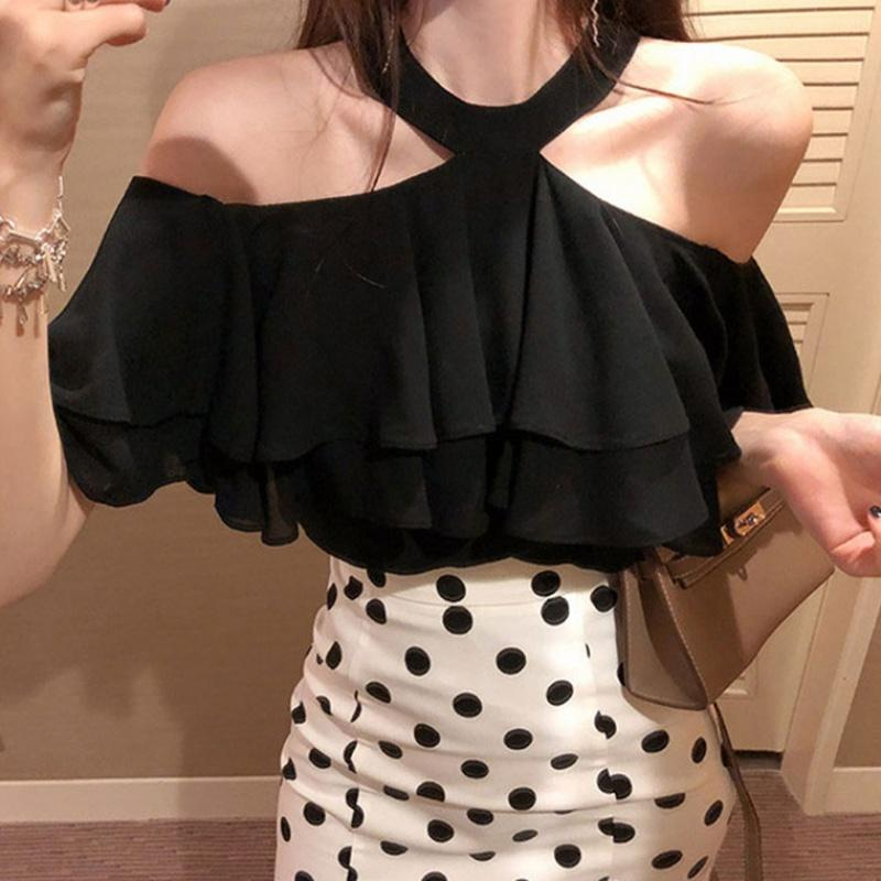 Women's Blouses & Shirts 2021 Arrivals Summer Chic Fashiion Solid Casual Loose Sweet Girl Flash Neck Aesthetic Special Night Club Party Crop