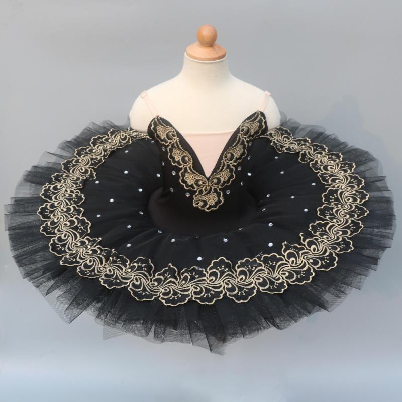 Black Professional Ballet Tutus For Girls Child Kids Swan Lake Ballet Dress Dance Clothes Pancake Ballerina Figure Skating Dress