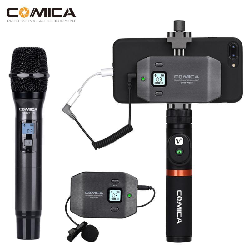Comica CVM-WS50 Wireless Smartphone Microphone Handheld Microphone UHF 6 Channels Wireless Lavalier Mic System Portable