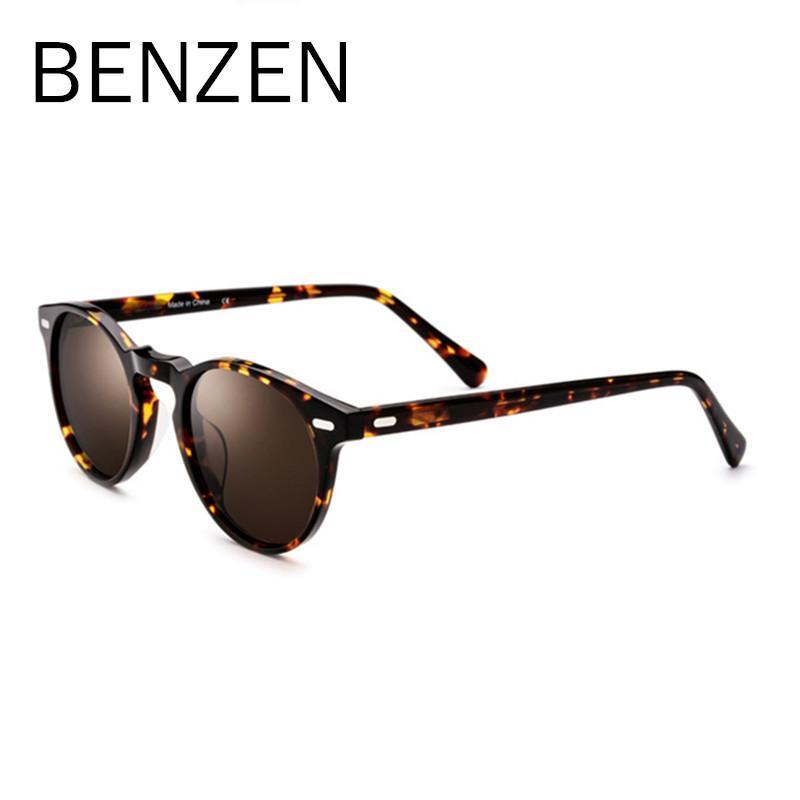 Benzen Sonnenbrille Polarisierte Sonne Handmade Acetat Case Herren Designer Frauen Gläser Für Fahren Marke Schwarzes Farbtöne mit Frau 6582 AlIVR