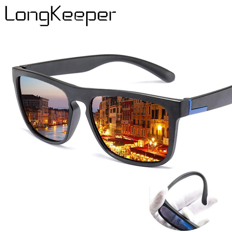 Hommes Rectangle Oculos Sunglasses TR90 Pilote de conduite anti-UV Black Hommes Vintage Shades Polarized Goggles Lunettes Masculino Mâle PDCog