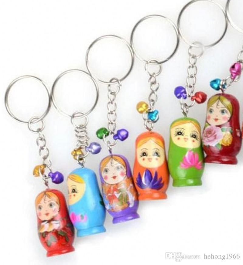 Hot Sale Painted Nesting Wooden 0 Pendant Keychain Doll 9tw Russian Phone Bb Matryoshka Dolls For Toy Mobile Hand Charm bbyAJ garden2010