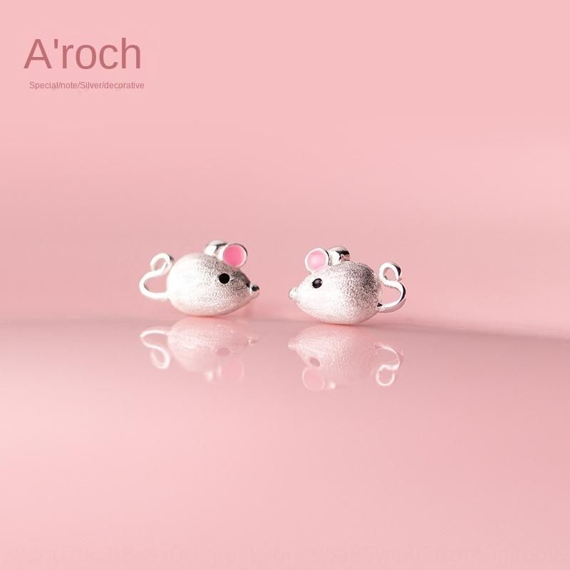 HqpVd Iroch S925 brinco e brincos de prata senhora moderno bonito rosa earear studyear do G4381 ratos pequenos brincos
