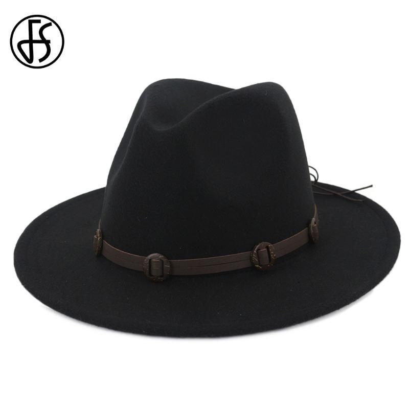 FS Vintage Nero Fedora cappelli per gli uomini Donne eleganti con banda in feltro Bowler Cap Autunno Inverno Wide Brim Cappello a cilindro Chapeu Feminino