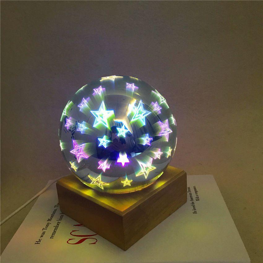 Magic Ball lâmpada de bola de vidro colorido 3d Decoração Starry Sky Estrela borboleta da noite crianças luz do quarto dos presentes do Natal de luz GGA3711-1