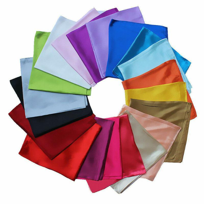 Womens Candy Colors Solid Silk-Satin Kerchief Small Square Neck Scarves 60cm