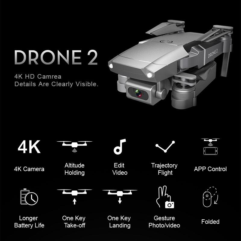 E68 Drone HD широкоугольный наклон 4K WiFi FPV Drone Video Live Recording Quadcopter Высота для поддержания дистанционного управления дистанционным управлением дистанционного управления Drone PO